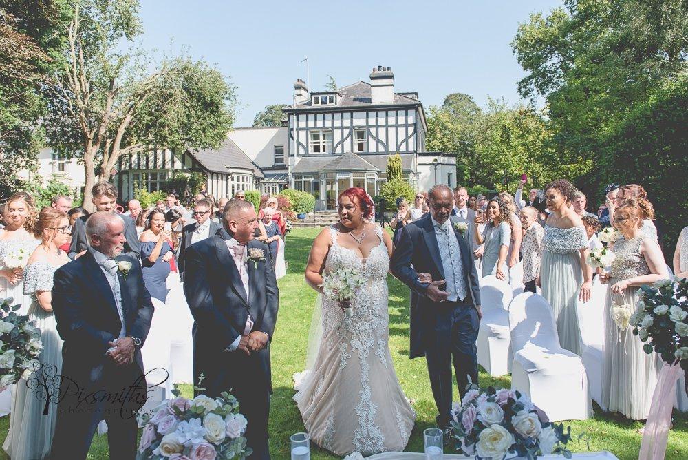 Brook Hall Outdoor wedding bridal entrance