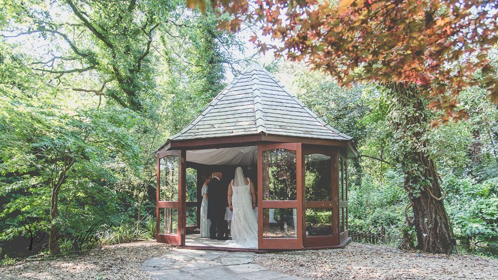 Brook Hall Outdoor wedding in the pagoda