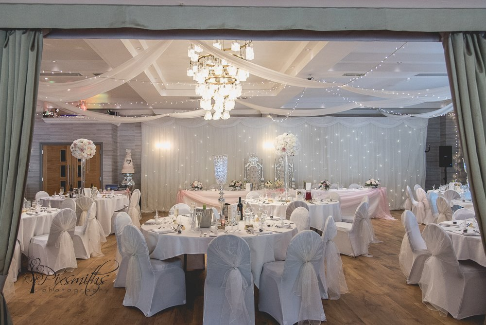 beautiful wedding reception set up Brook Hall wedding