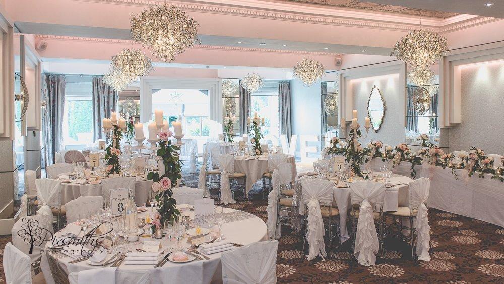 Cristal Suite Thornton Hall Wedding reception set up