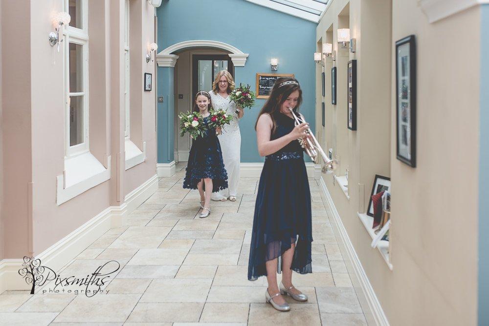 Bride entrance Mere Brook House wedding