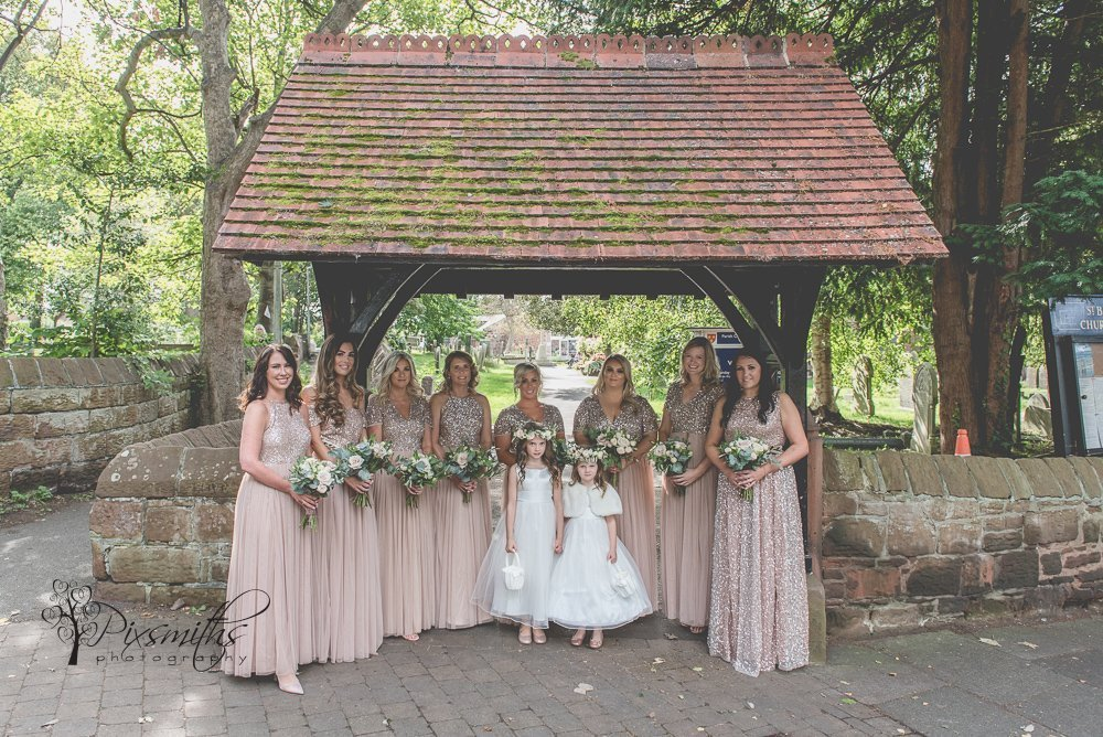 Bridesmaids at local church to Wirral wedding photographers
