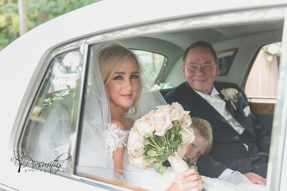 Bride arriving for Wirral Wedding