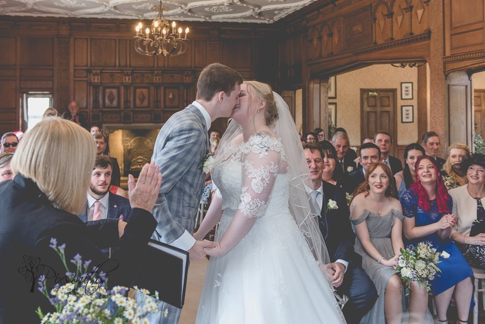First Kiss Inglewood manor indoor ceremony