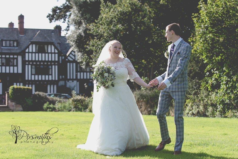 happy bride and groom Inglewood Manor weddign portrait