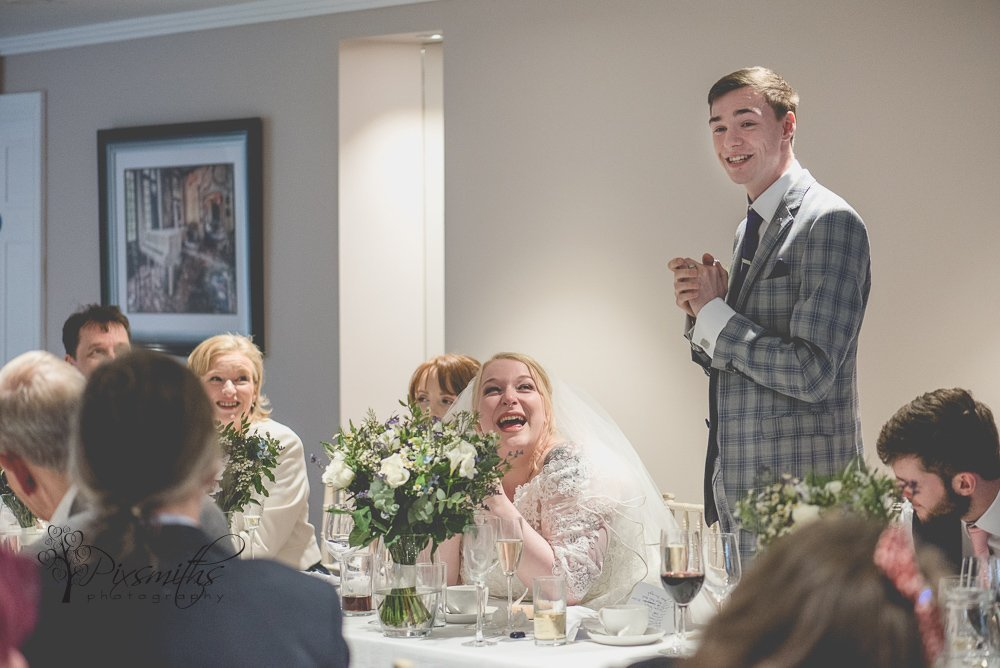 bride's reaction to groom's speech stunning Inglewood Manor weddign photography