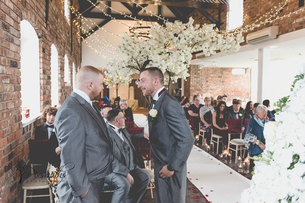 groom and best man Doubletree Hilton wedding photography