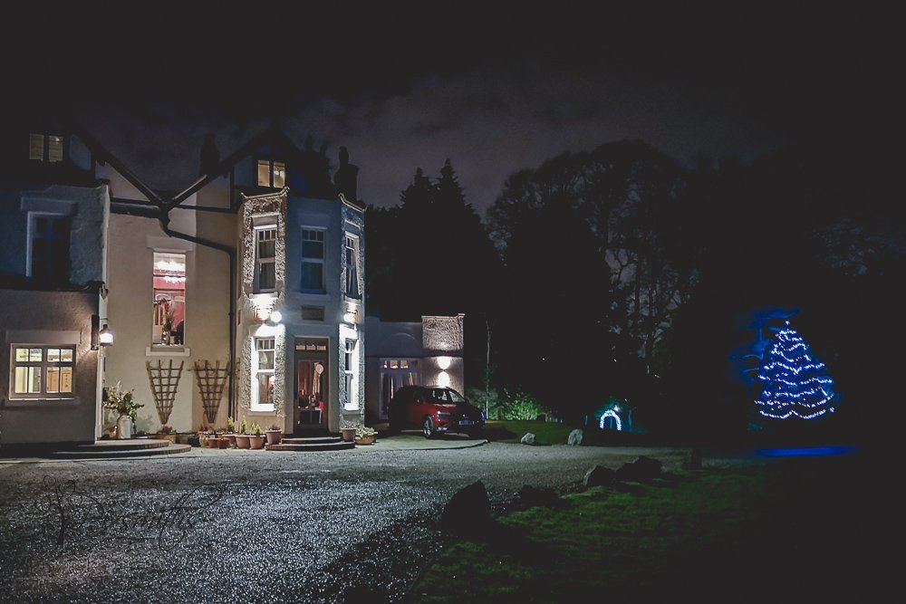 night time shot Mere Brook House