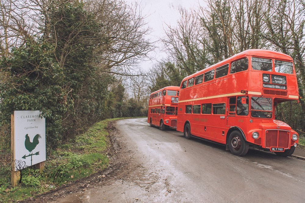 Red Bus for surpsrise Claremont Farm wedding - Routemaster 4hire