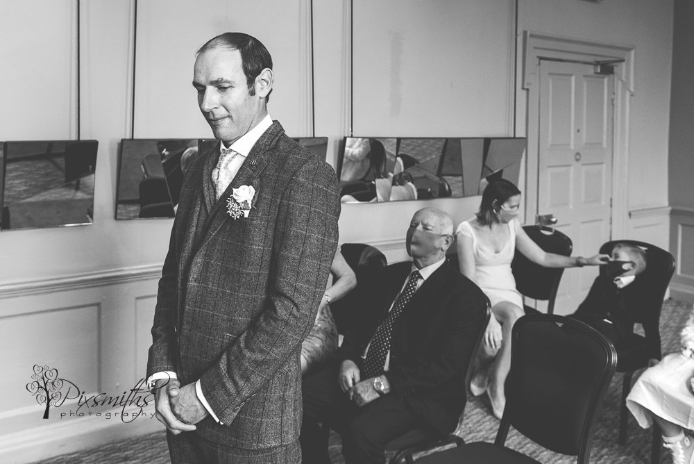 groom waiting Oddfellows Chester wedding